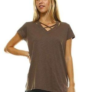 L Ma Belle Brown Tee Shirt V neck Cap Sleeve Loose